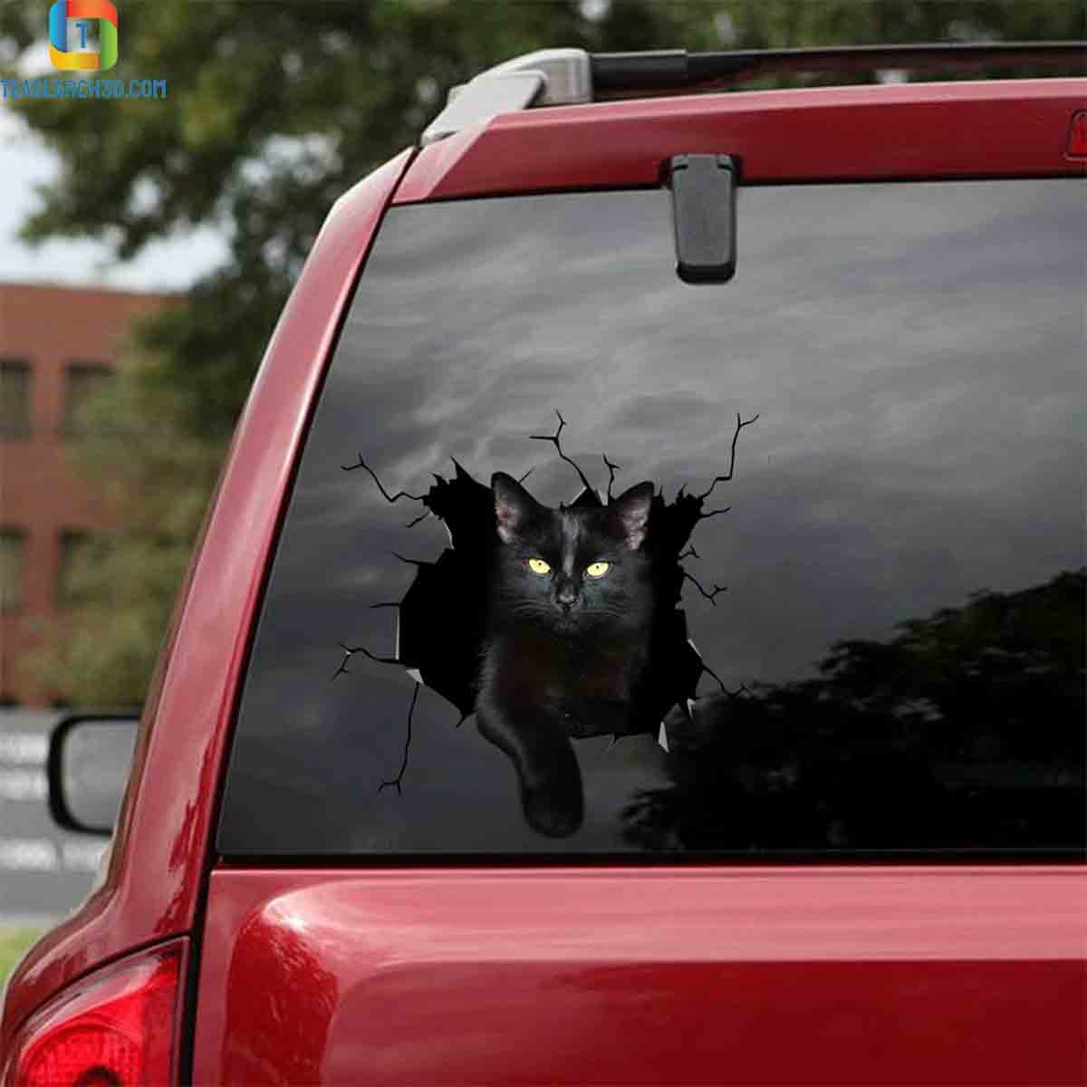 Funny black cat car decal sticker 1