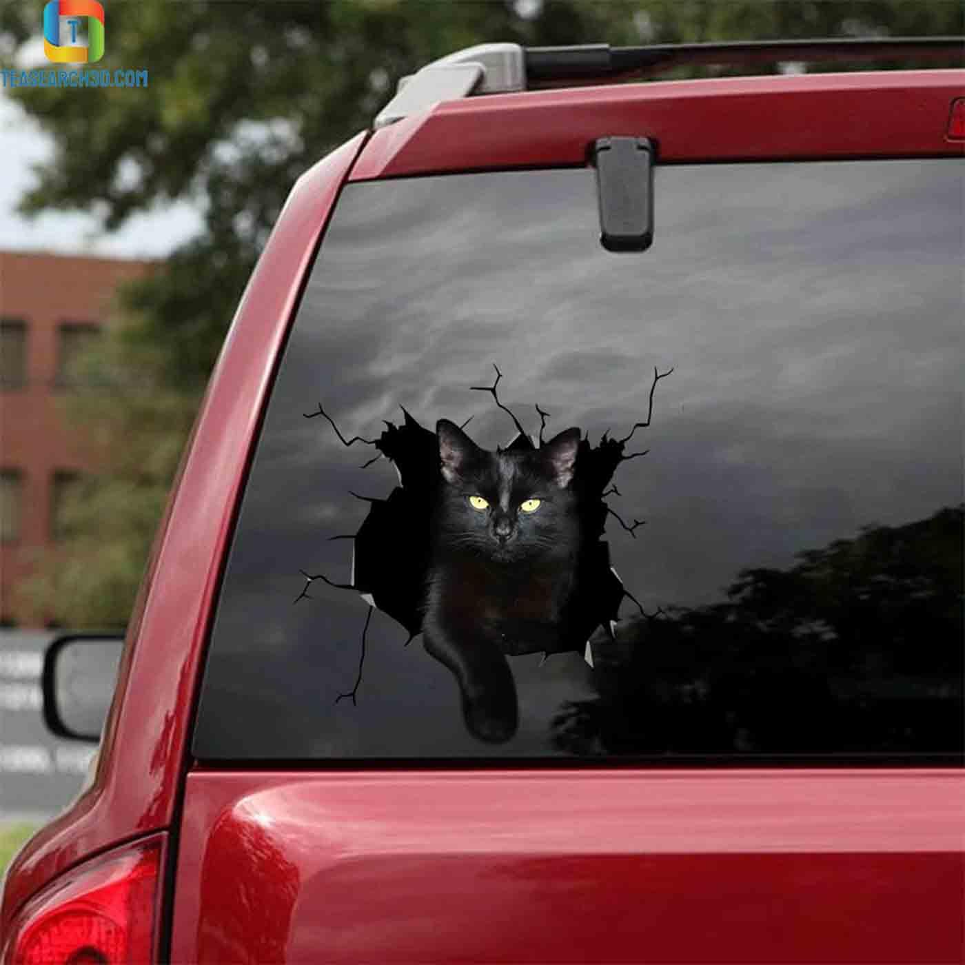 Funny black cat car decal sticker 2
