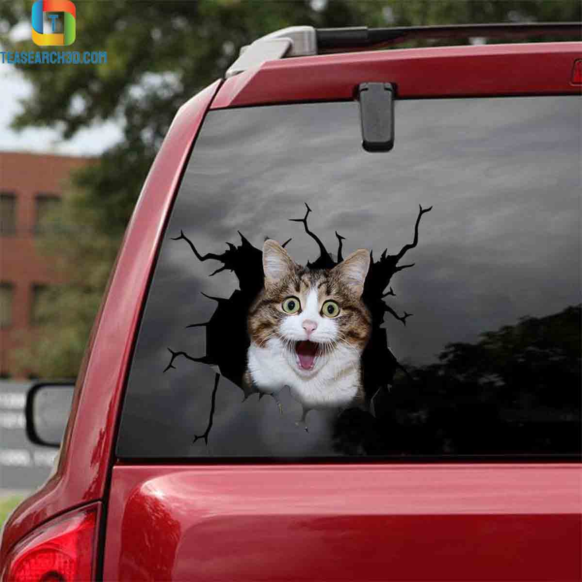 Funny cats crack car decal sticker 1