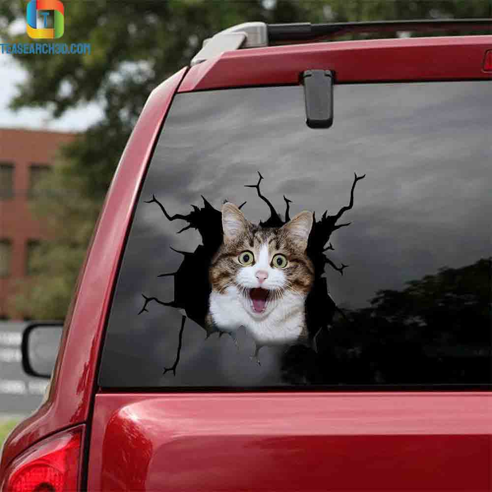 Funny cats crack car decal sticker