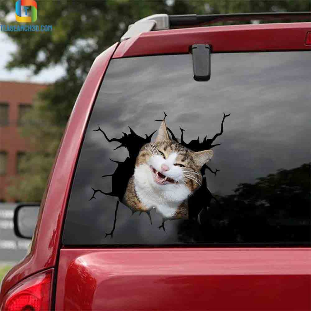 Funny cats smile crack car sticker cats lover