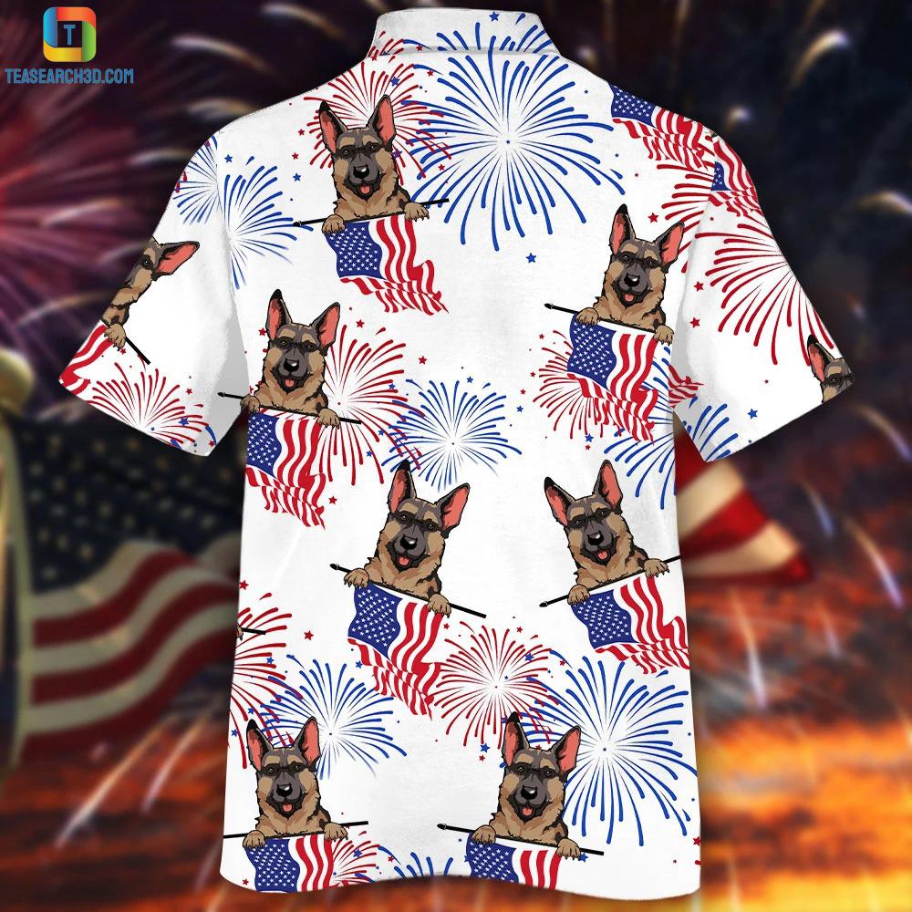 German shepherd american flag firework hawaiian shirt 1