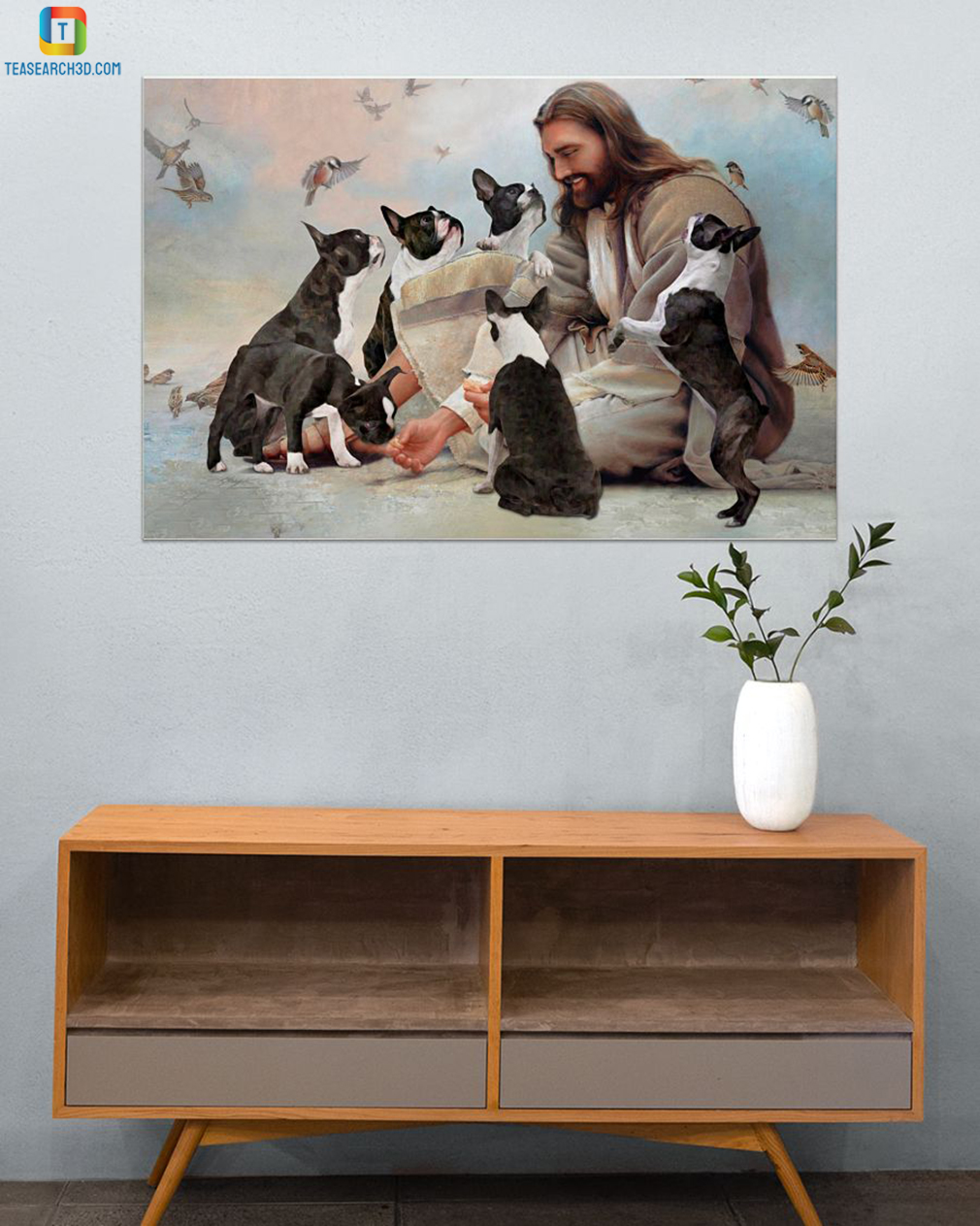 God surrounded by Boston Terrier angels canvas small
