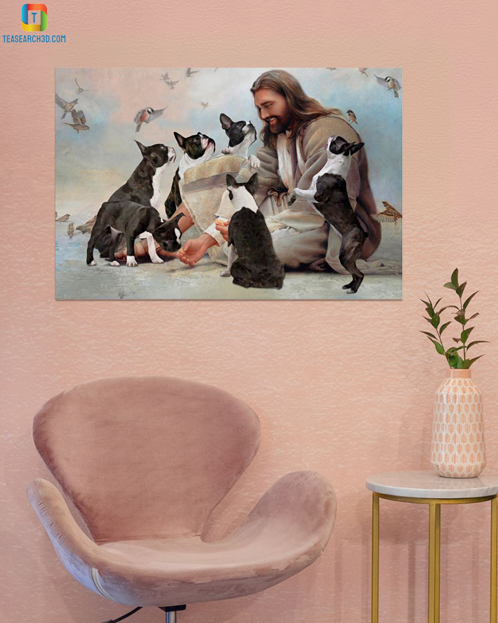 God surrounded by Boston Terrier angels canvas