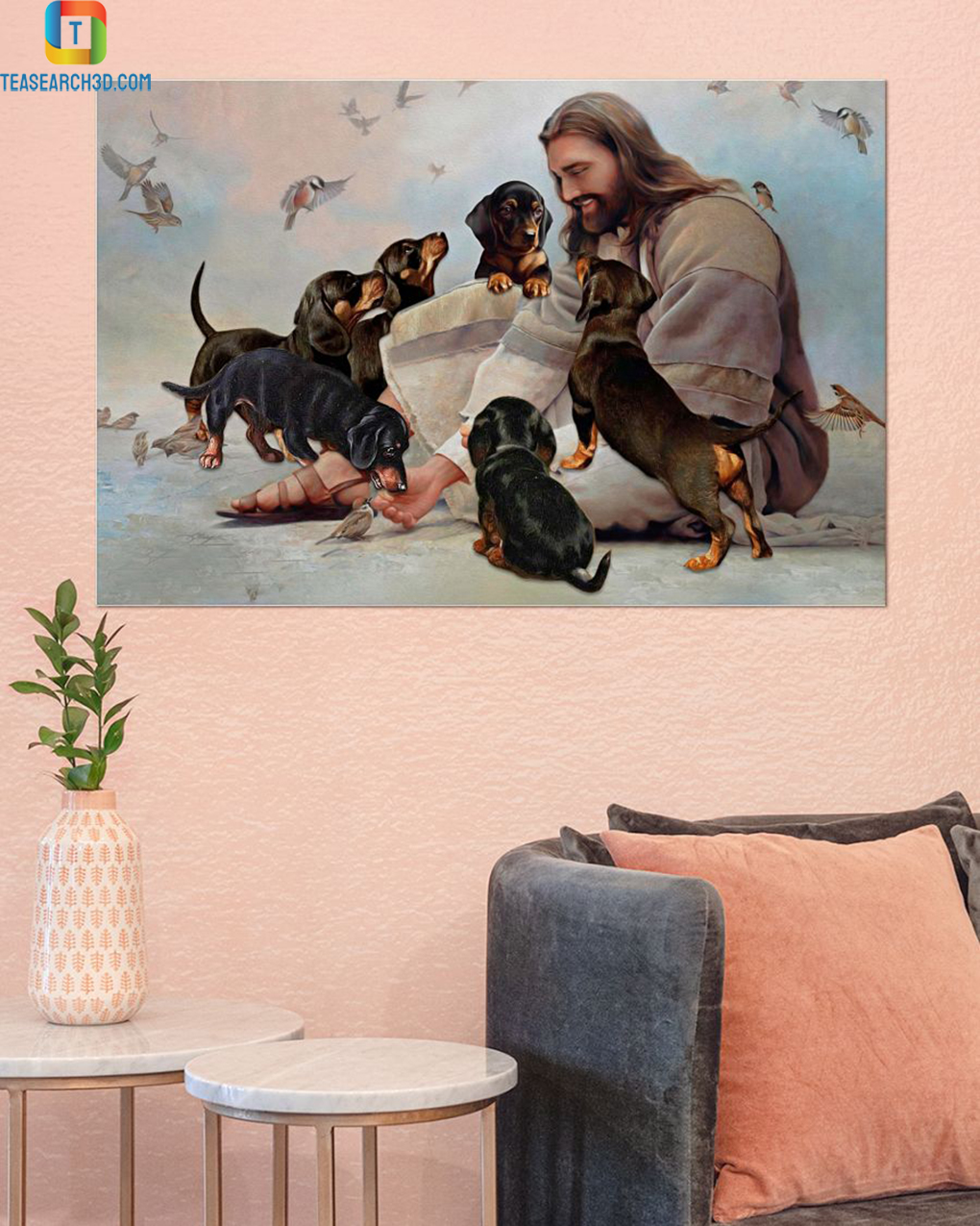 God surrounded by Dachshund angels poster A1