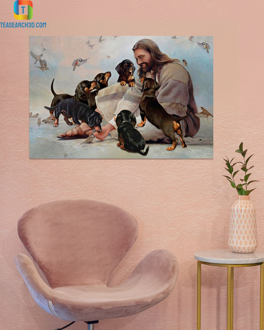 God surrounded by Dachshund angels poster A2