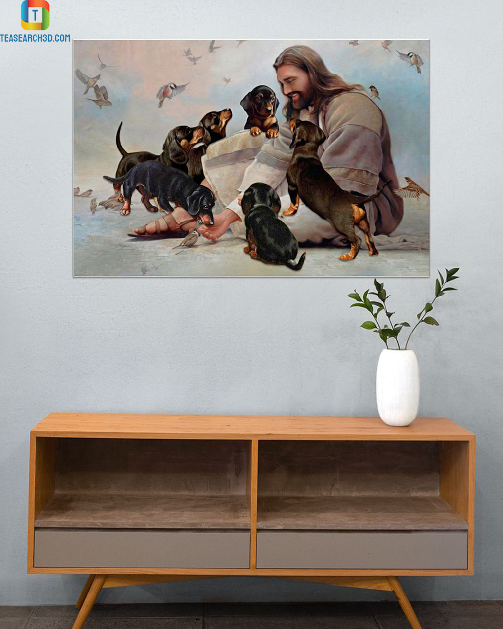 God surrounded by Dachshund angels poster A3