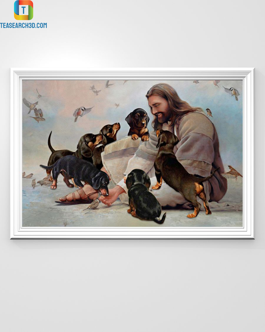 God surrounded by Dachshund angels poster