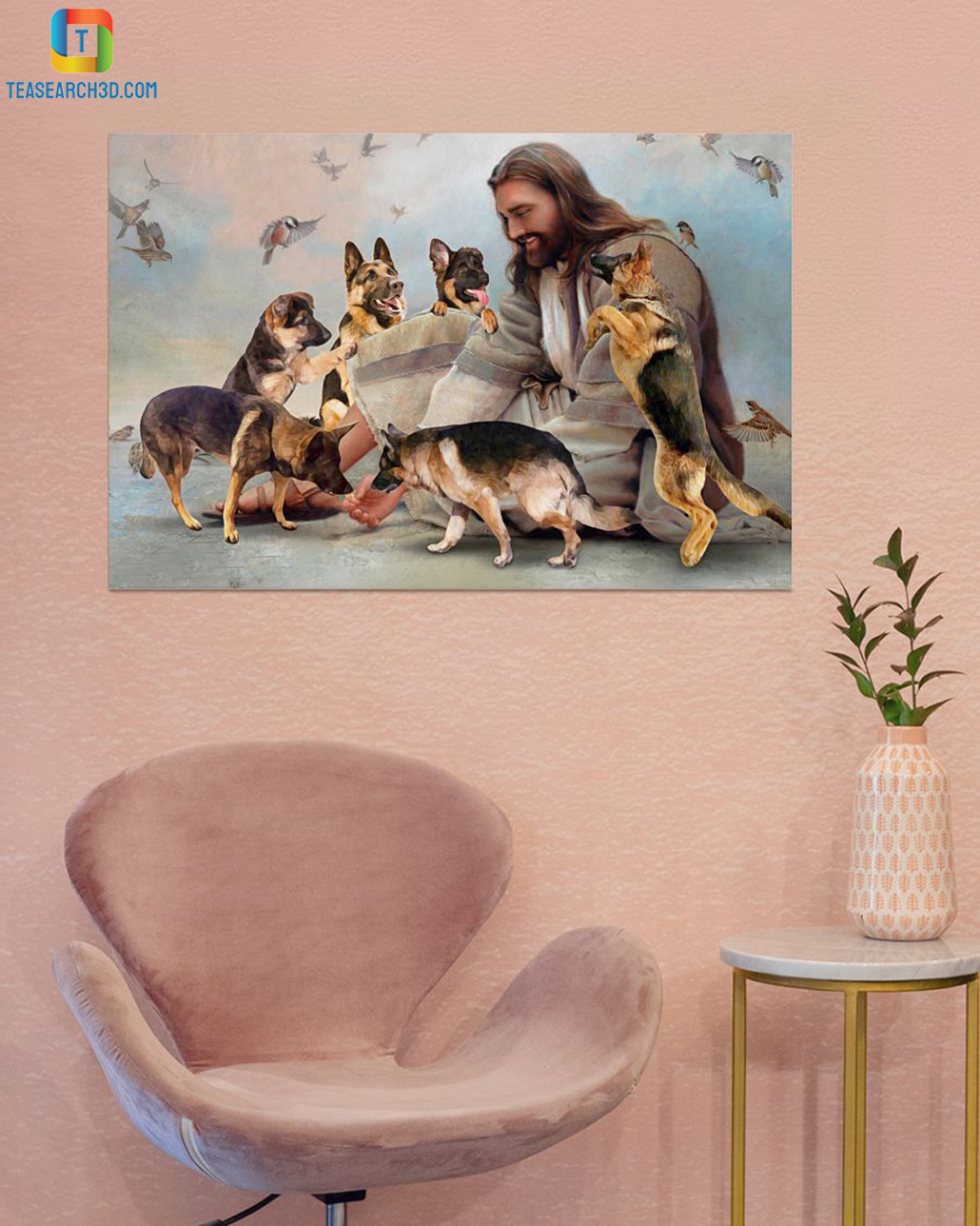 God surrounded by German Shepherd angel canvas small