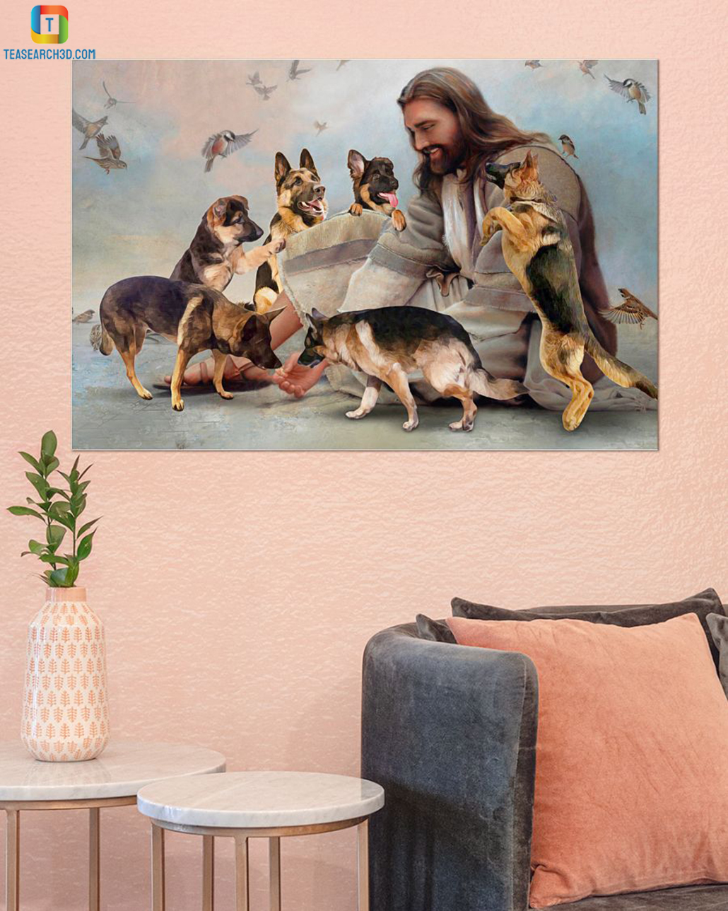 God surrounded by German Shepherd angel canvas