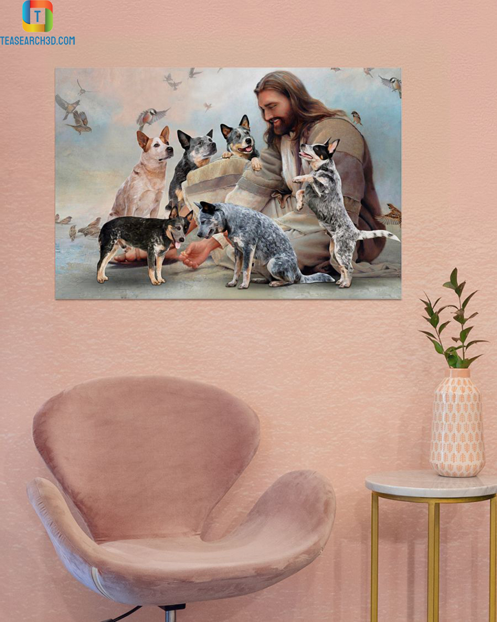 God surrounded by Heeler angels poster A1