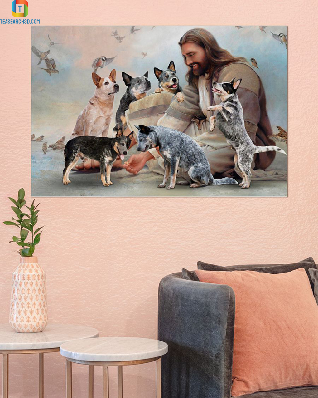 God surrounded by Heeler angels poster A2