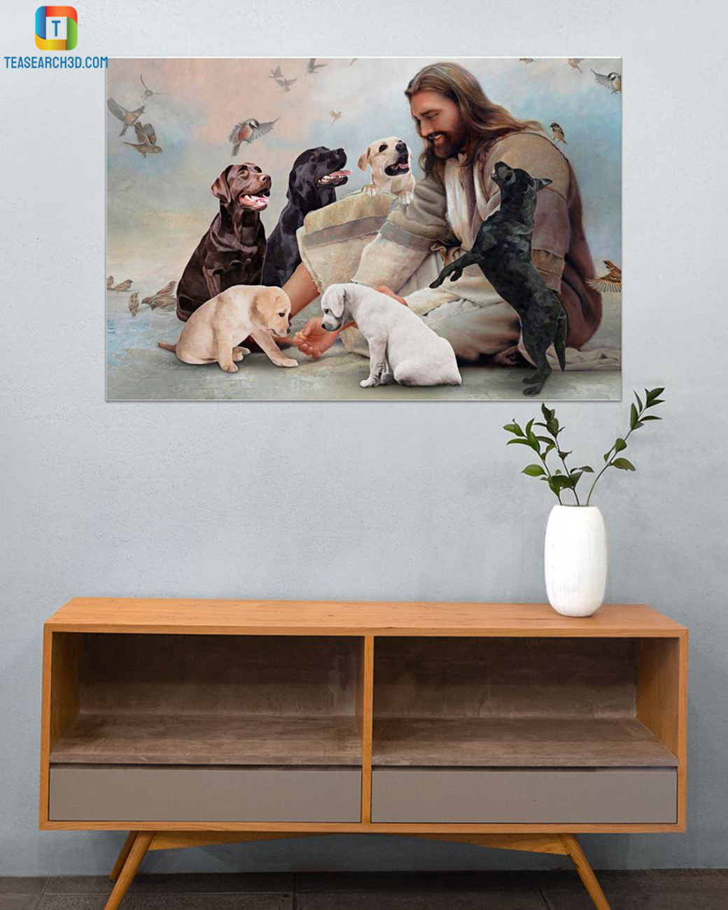 God surrounded by Labrador angels canvas small