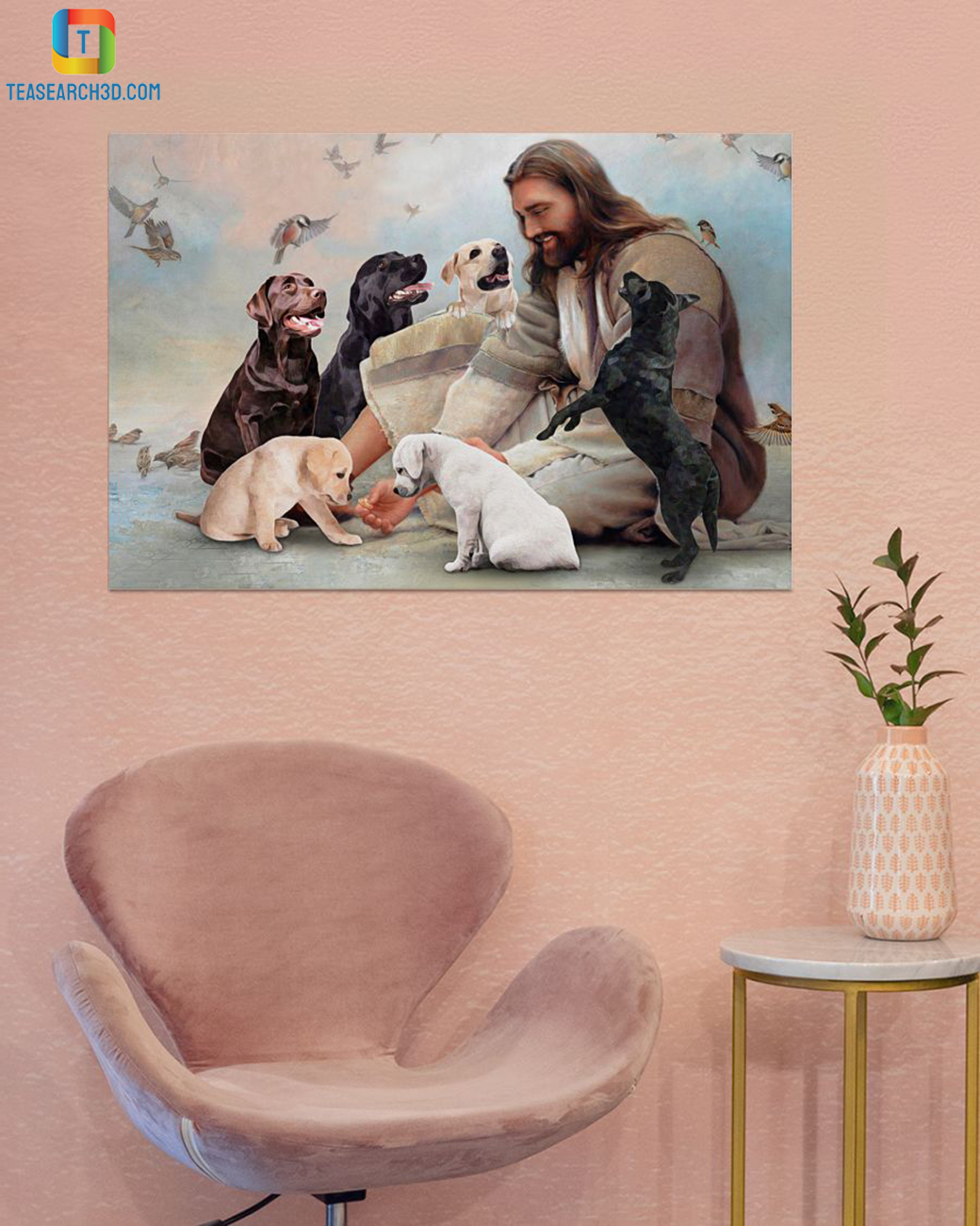 God surrounded by Labrador angels canvas