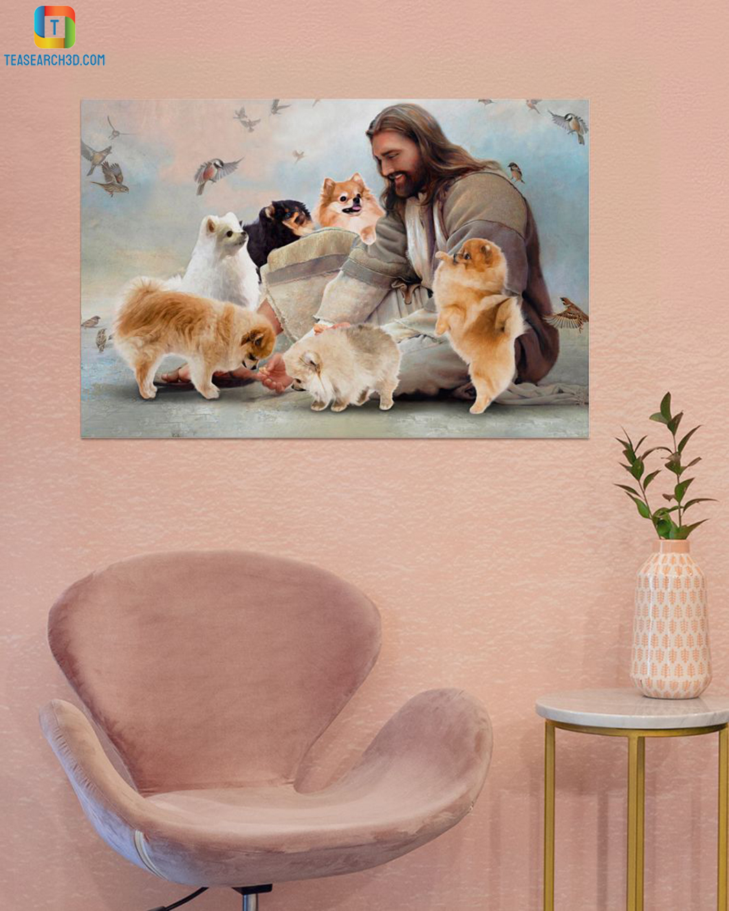 God surrounded by Pomeranian angels poster A1
