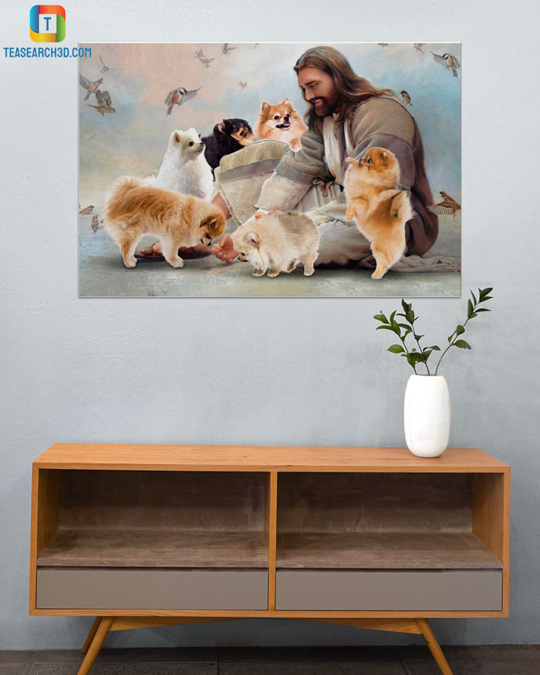 God surrounded by Pomeranian angels poster A2