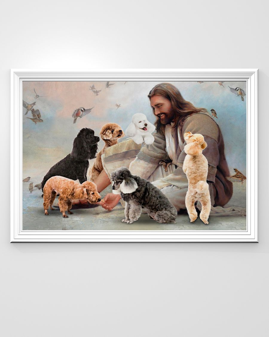 God surrounded by Poodle angels poster A1