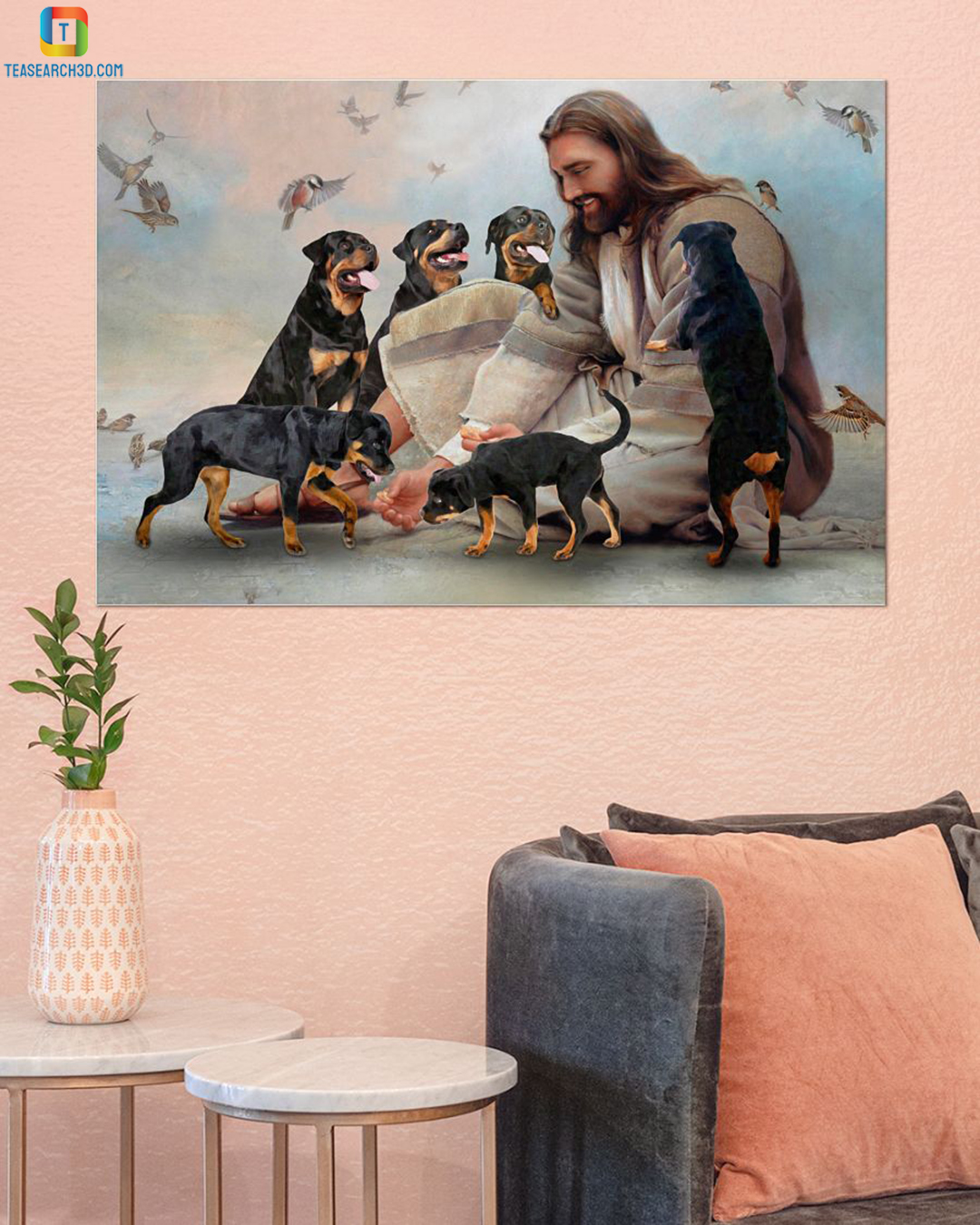 God surrounded by Rottweiler angels poster A1