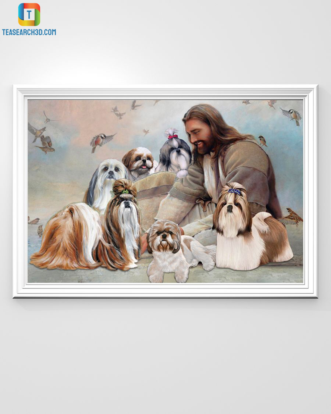 God surrounded by Shih Tzu angel canvas small