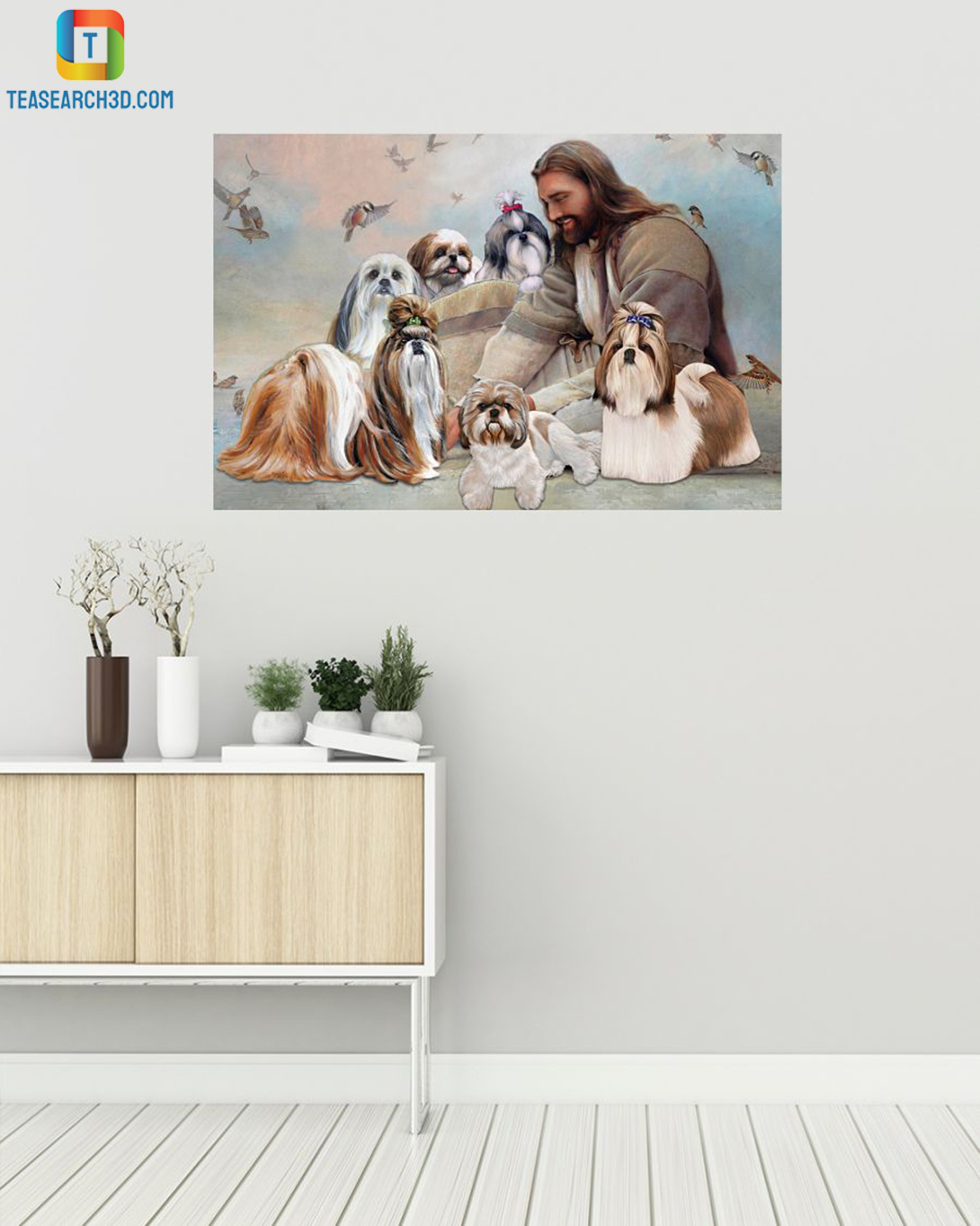God surrounded by Shih Tzu angel canvas