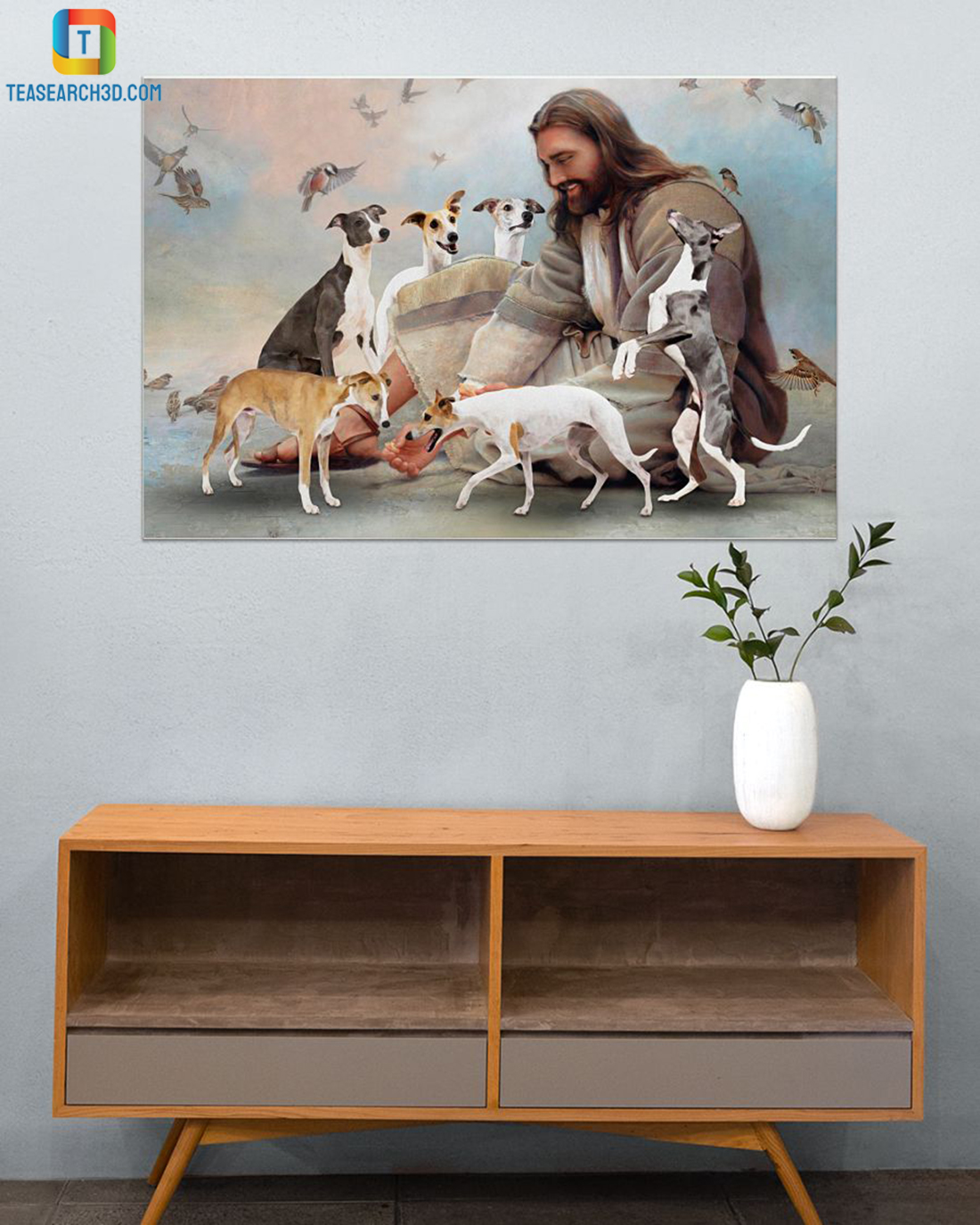 God surrounded by whippet angels poster