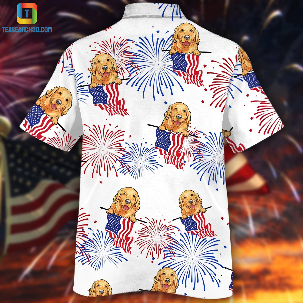 Golden retriever american flag hawaiian shirt 1