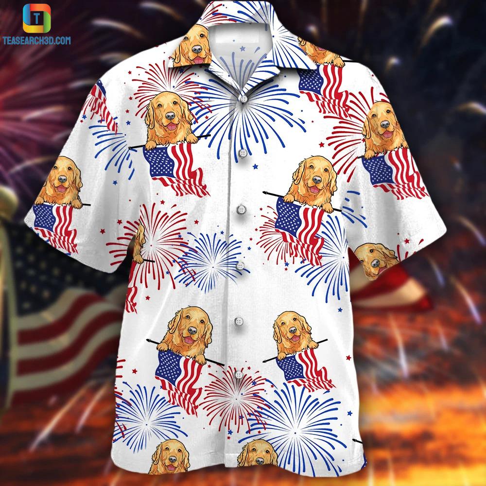 Golden retriever american flag hawaiian shirt