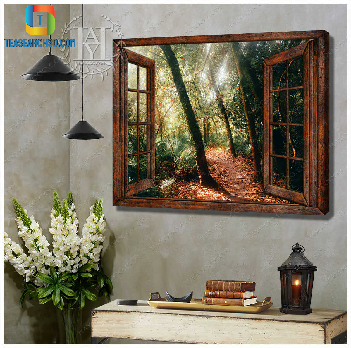 Gorgeous forest scenery through faux window canvas