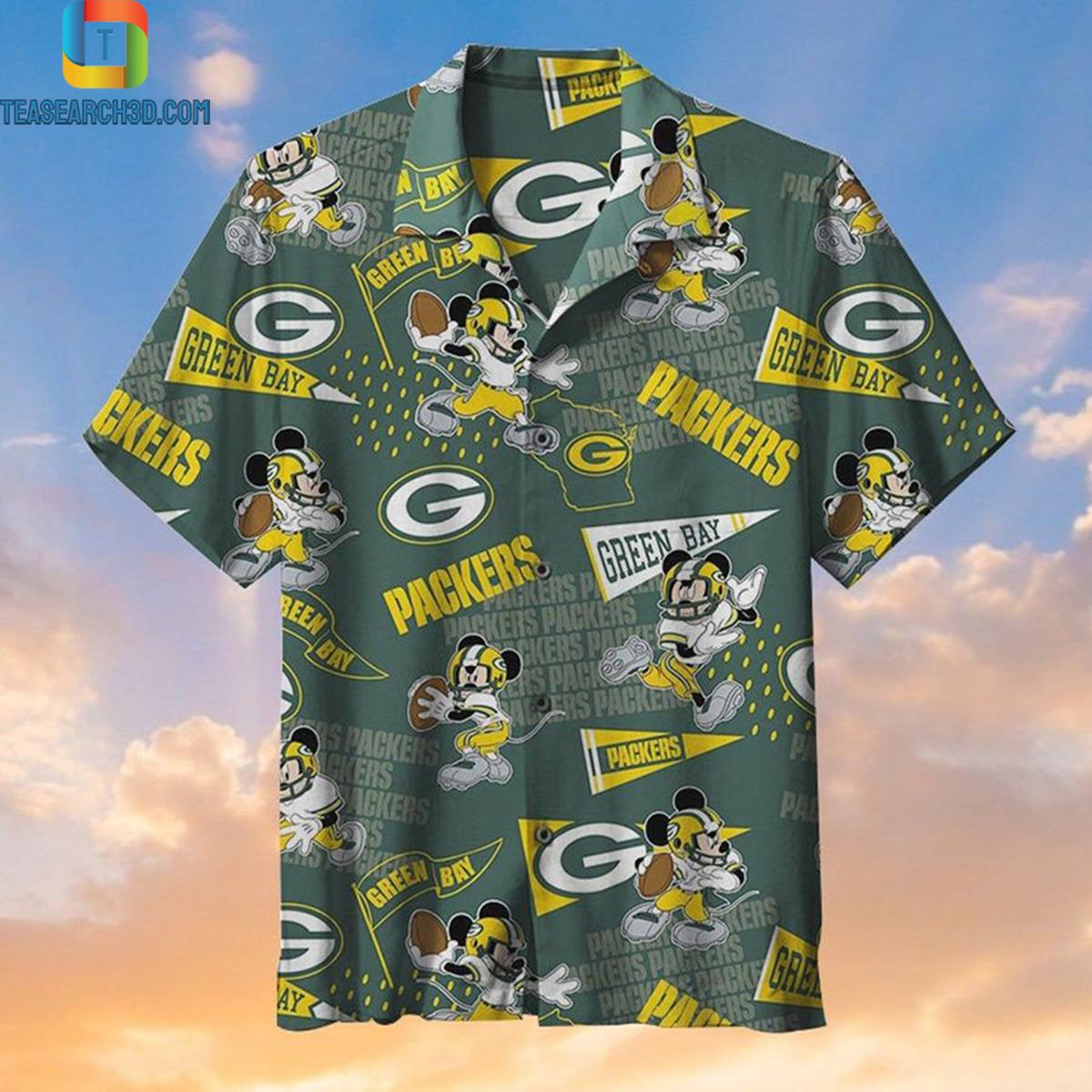 Green bay packers mickey nfl football hawaiian shirt 2