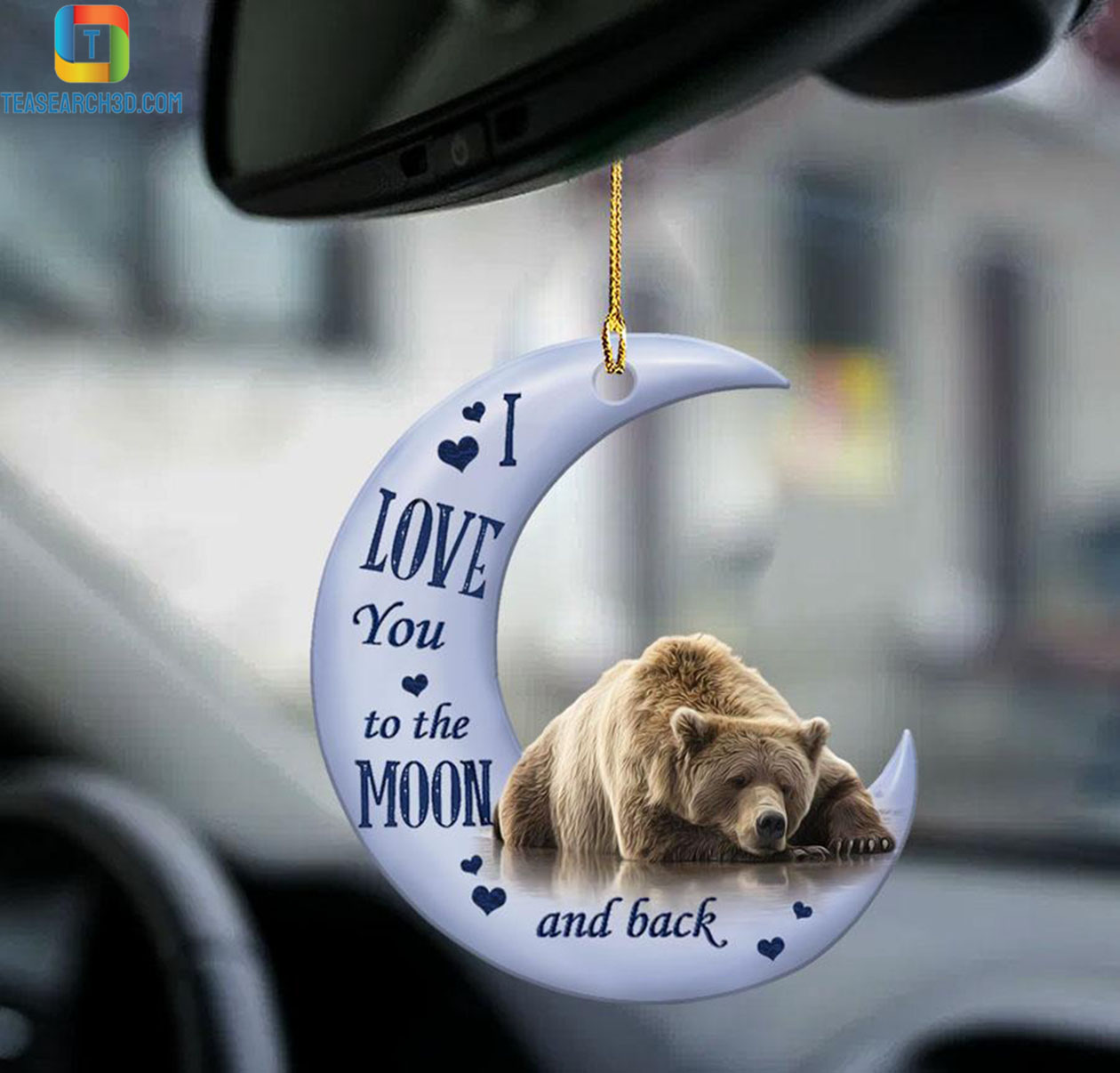 Grizzly bear I love you to the moon and back car hanging ornament 1