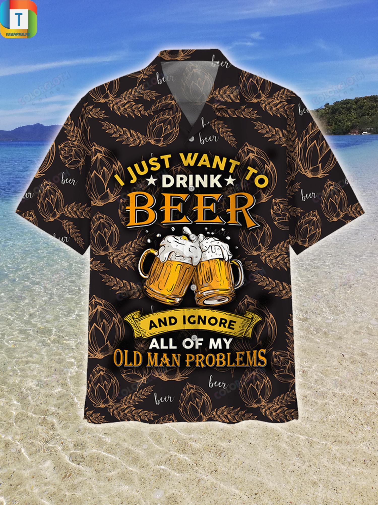 I just want to drink beer hawaiian shirt beach short