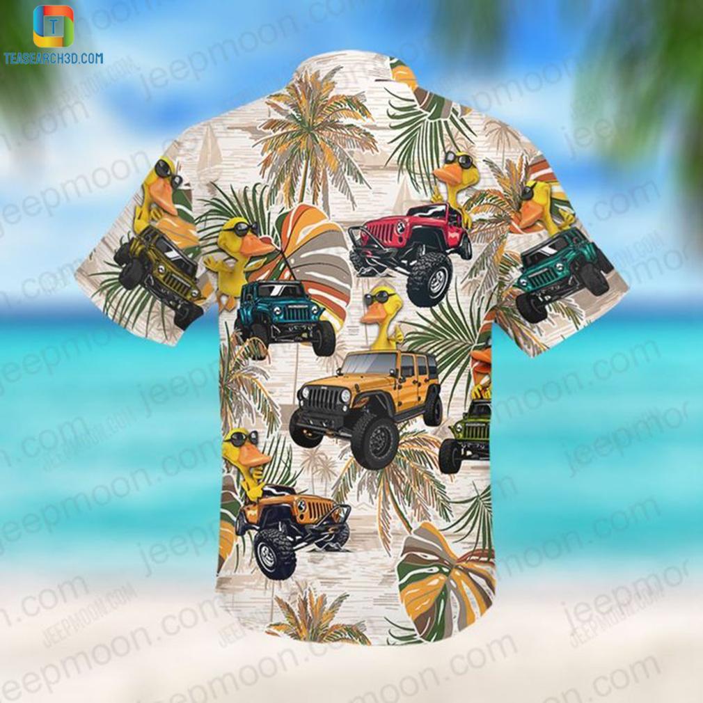 Jeep colorful leaves duck hawaiian shirt 2