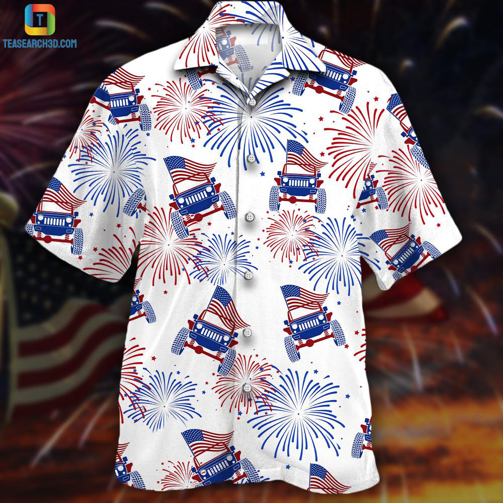 Jeeps firework american flag firework hawaiian shirt