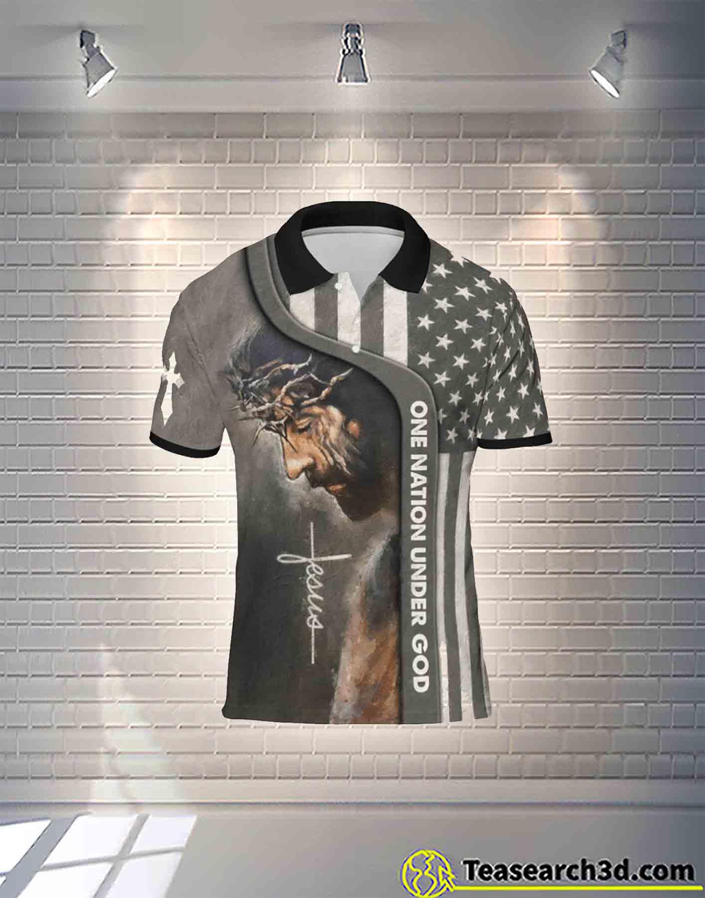 Jesus one nation under god polo t-shirt