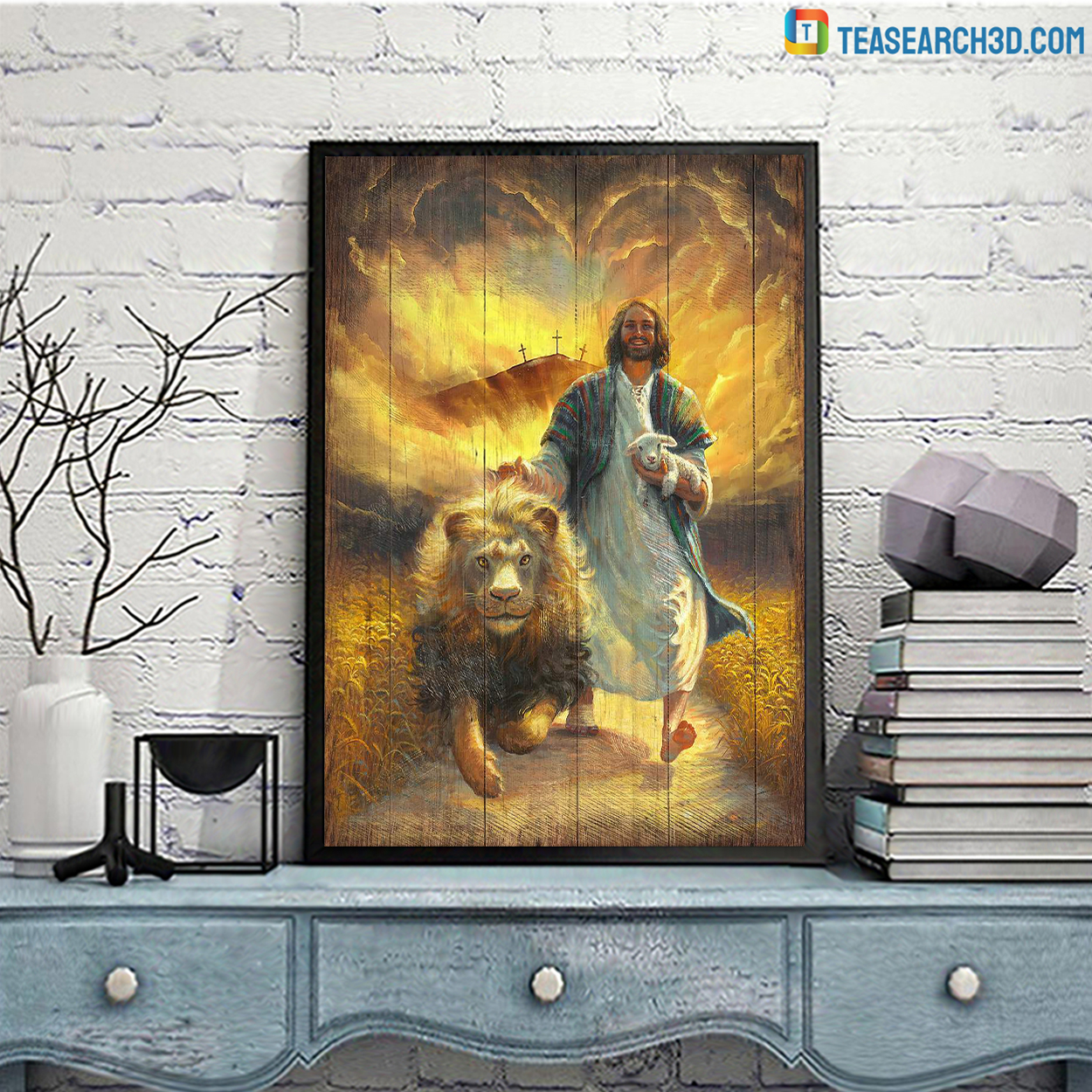 Jesus walking with lamb and lion canvas
