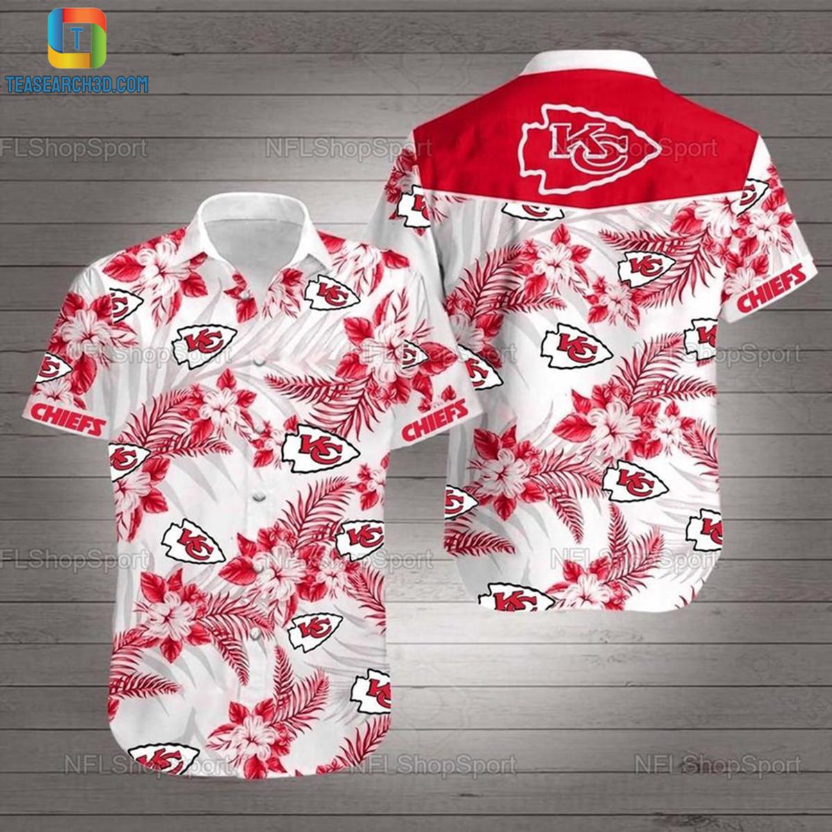 Kansas city chiefs hibiscus nfl football hawaiian shirt 2
