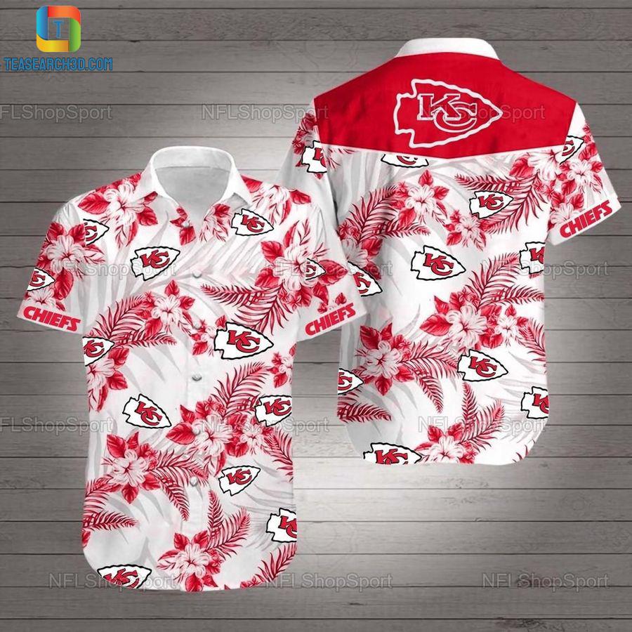 Kansas city chiefs hibiscus nfl football hawaiian shirt