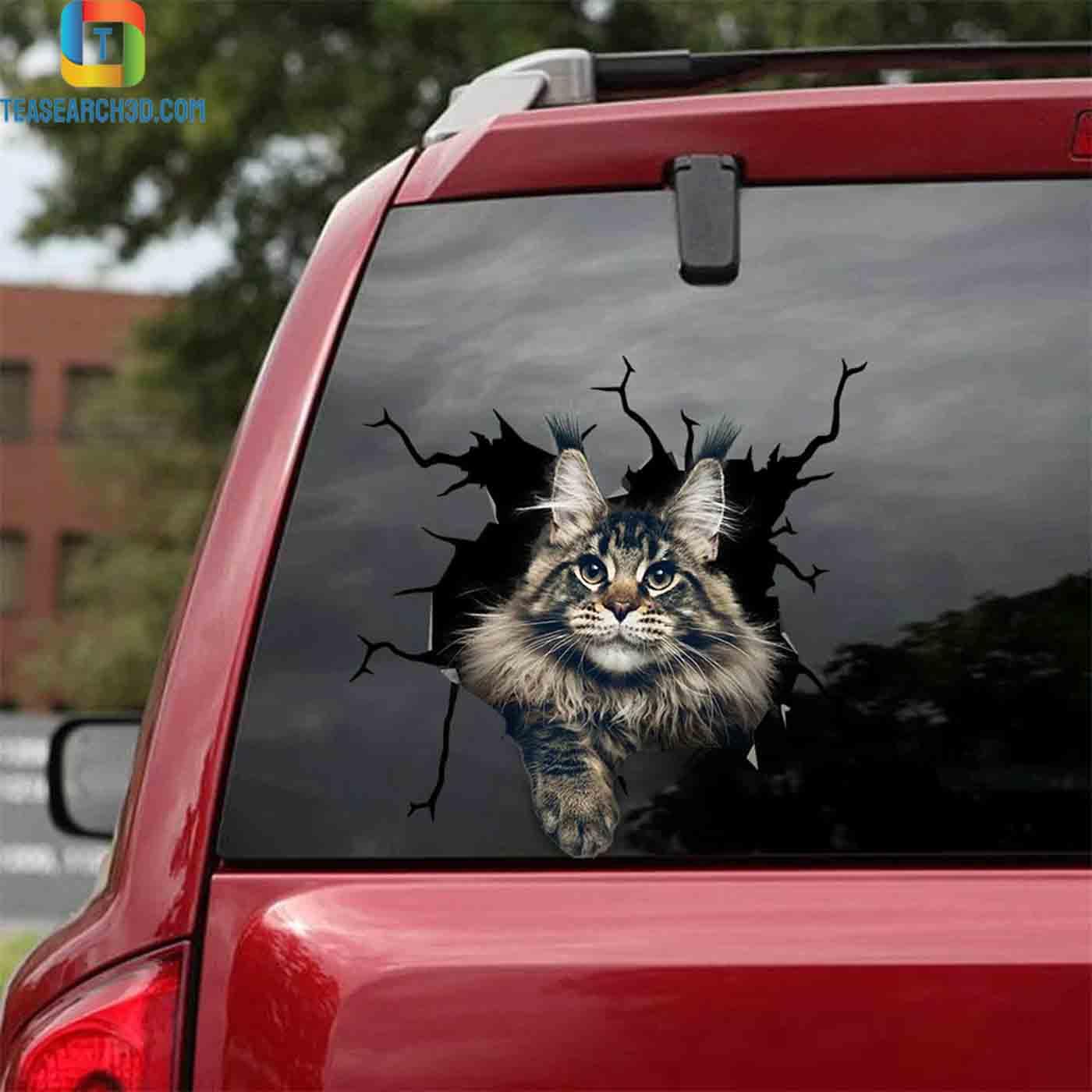 Maine coon crack car decal sticker 2