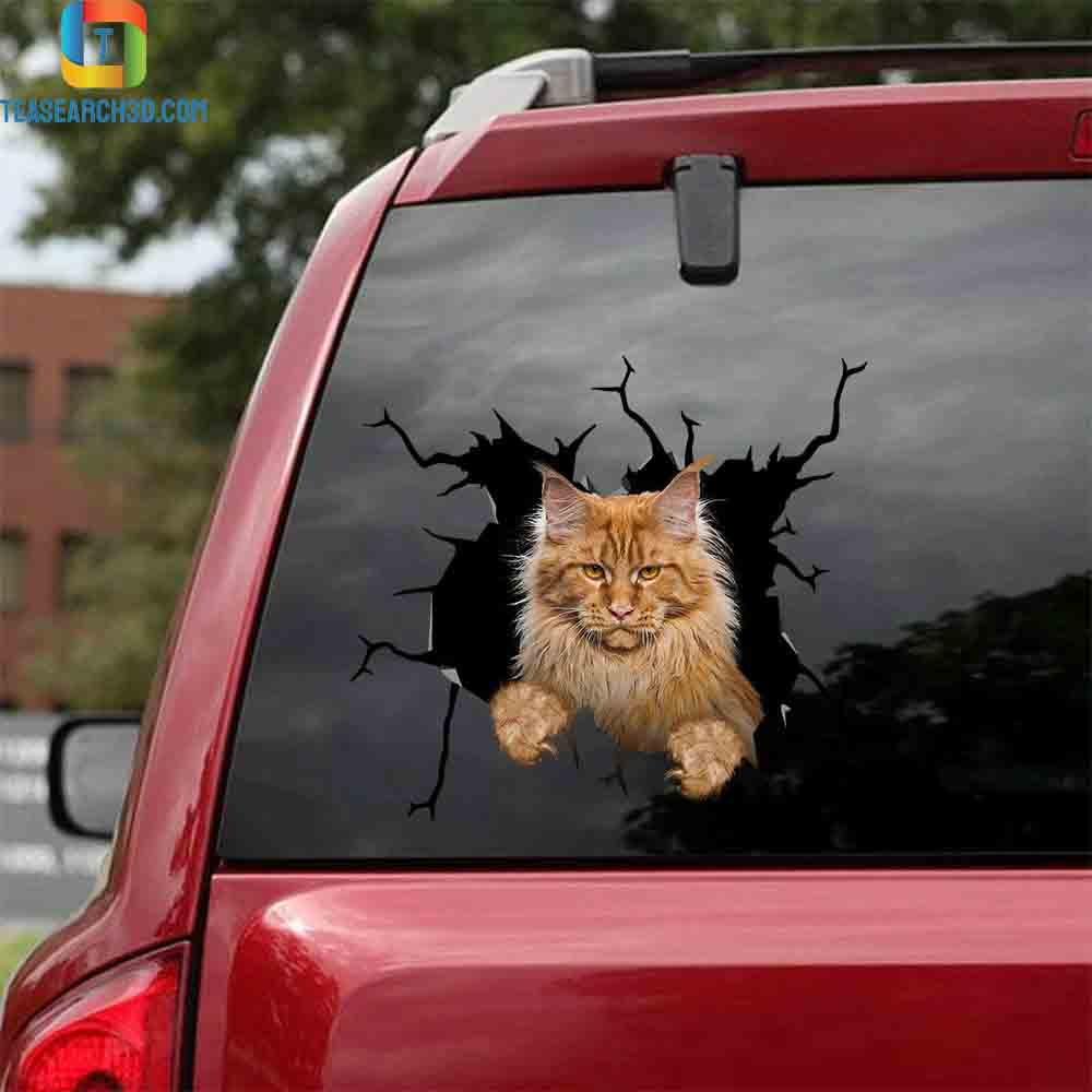 Maine coon crack cat lovers car decal sticker