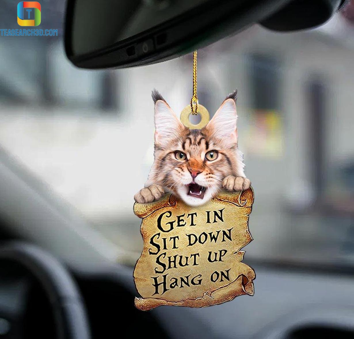 Maine coon get in sit down shut up hang on car hanging ornament 1