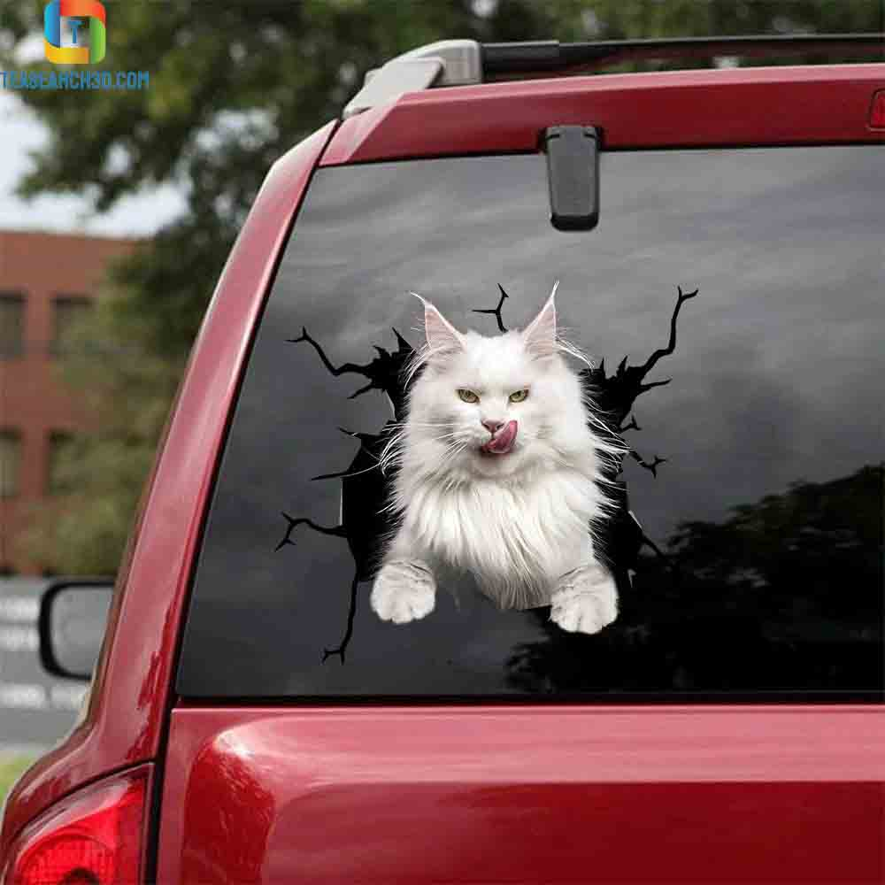 Maine coon white cat crack car decal sticker