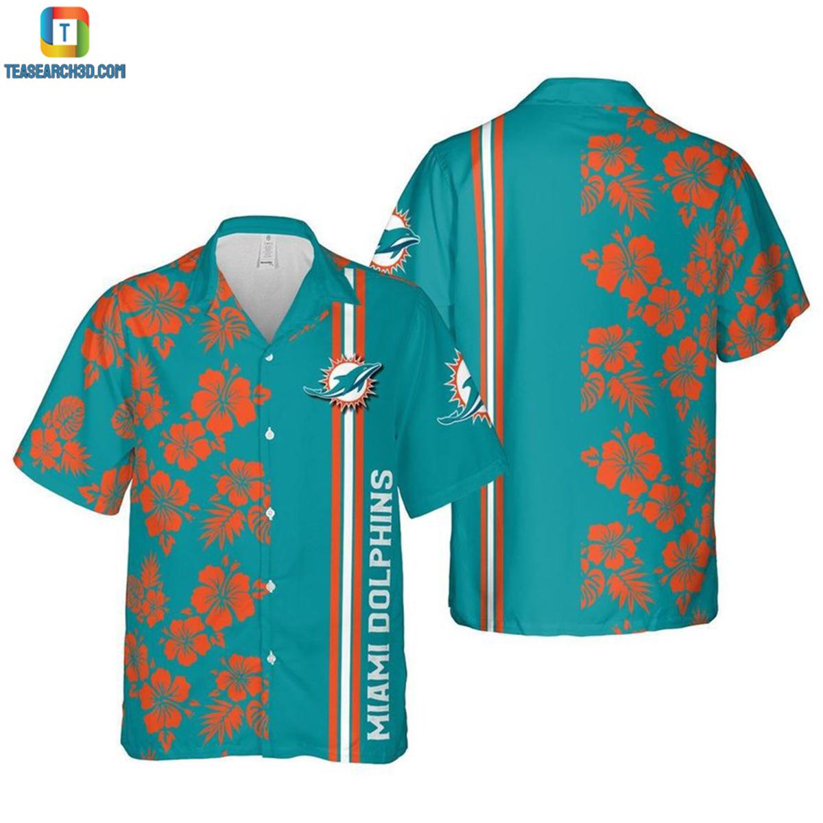 Miami dolphins floral nfl football hawaiian shirt 2