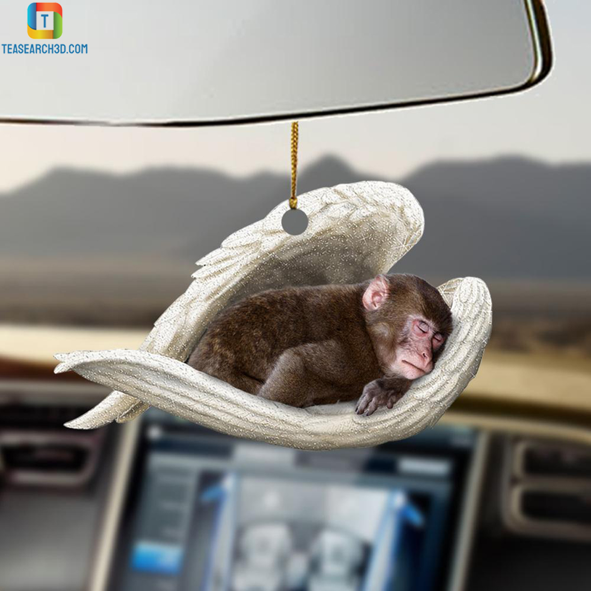 Monkey sleeping angel car hanging ornament 1