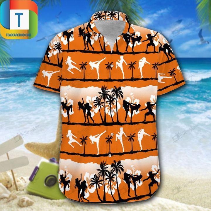 Muay thai female sunset hawaiian shirt