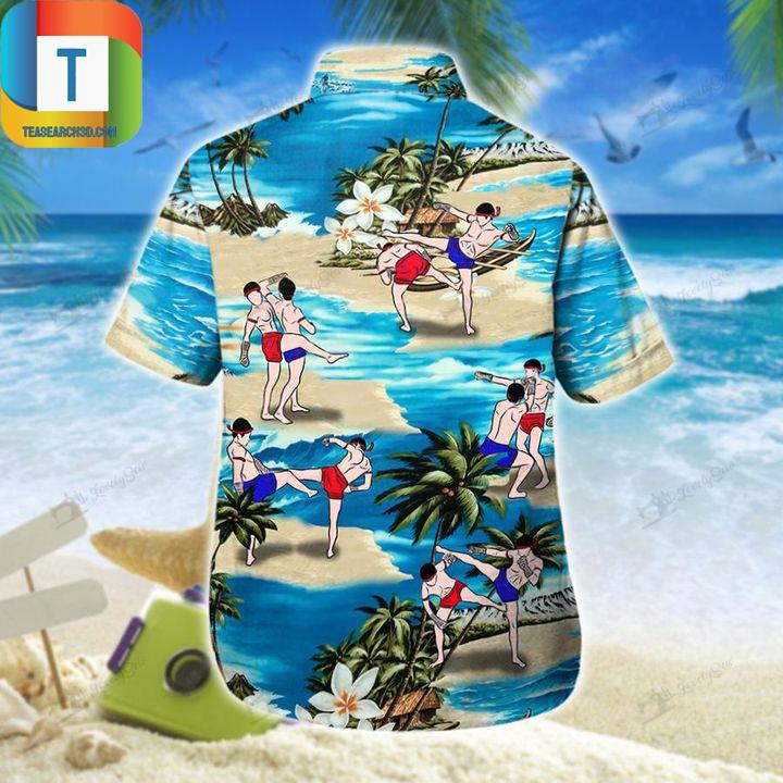 Muay thai on beach hawaiian shirt 1