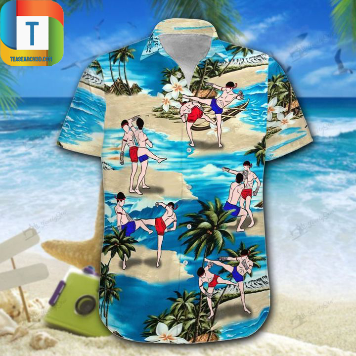 Muay thai on beach hawaiian shirt