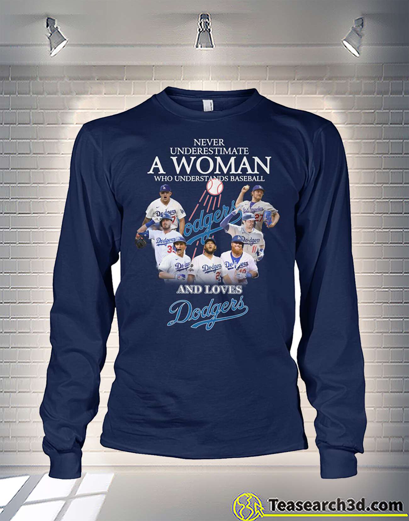 Never underestimate a woman who understands baseball and loves dodgers long sleeve