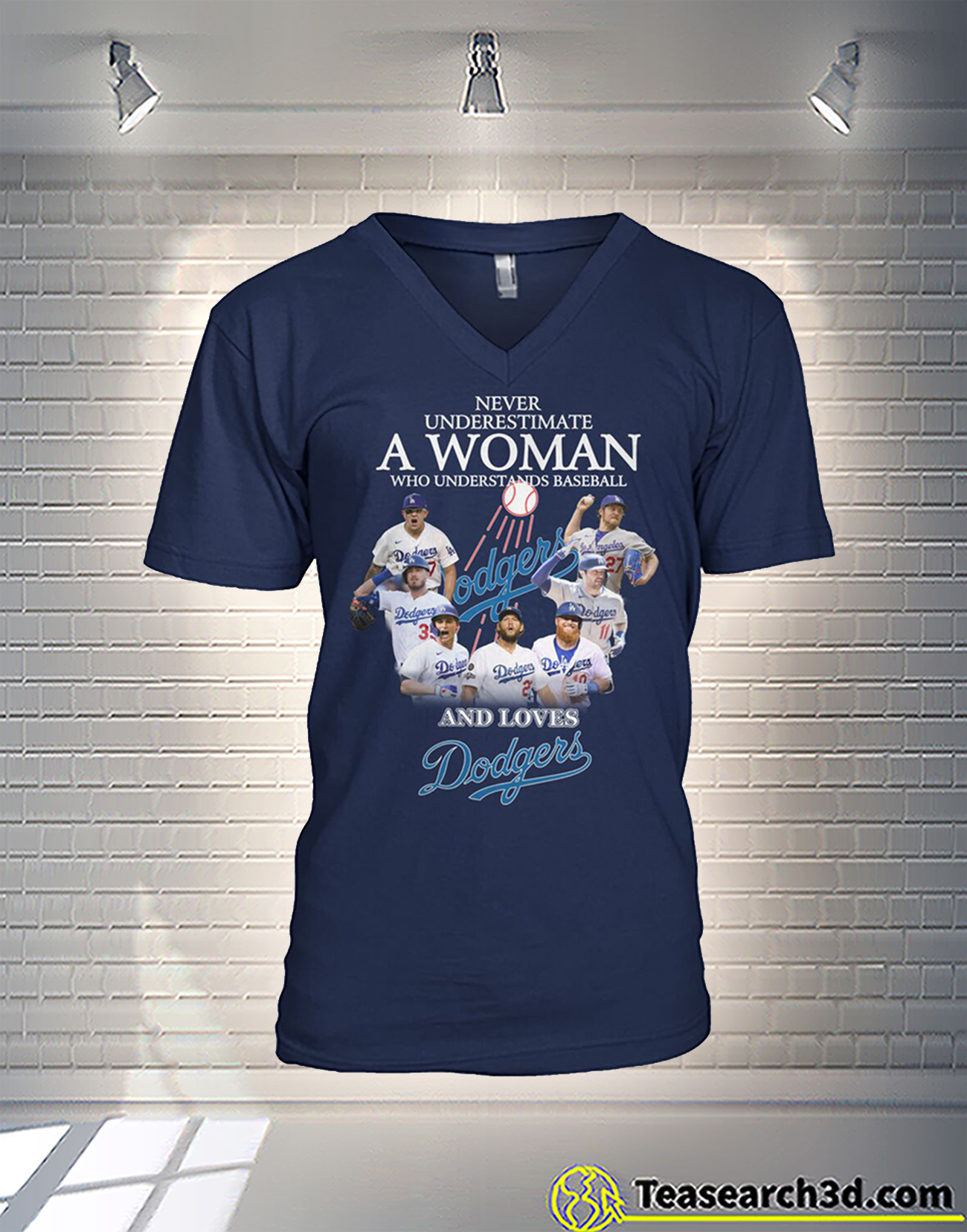 Never underestimate a woman who understands baseball and loves dodgers v-neck