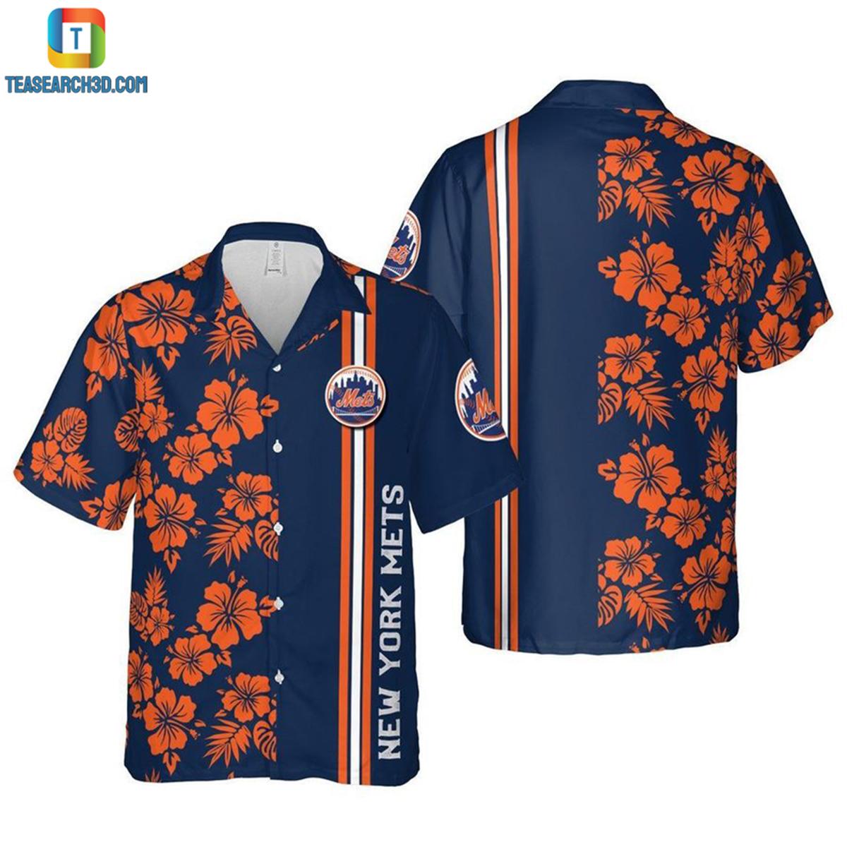 New York Mets floral mlb baseball hawaiian shirt 2