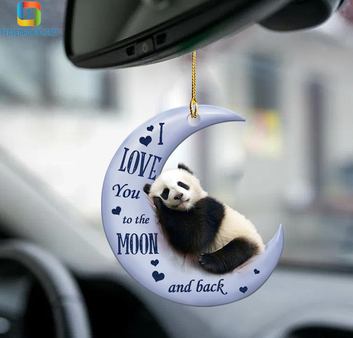 Panda I love you to the moon and back car hanging ornament 1